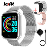 Lesfit Pink Smart Watch Women Men Smartwatch For Android IOS Bluetooth Steel Strap Smart-watch Watch Electronic Fitness Tracker