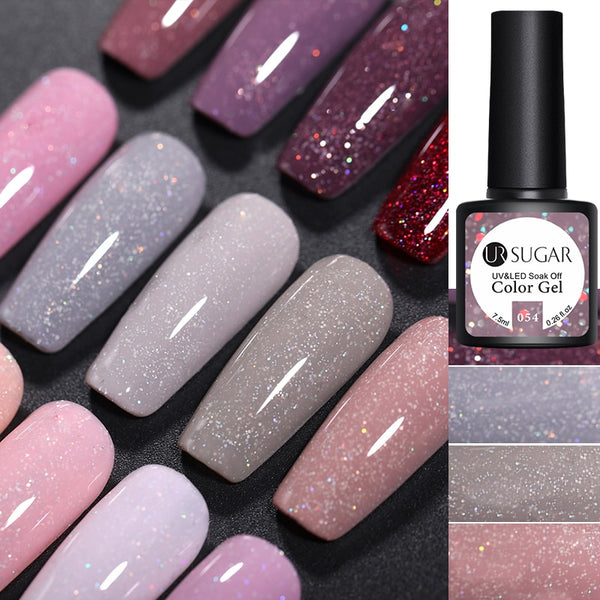 UR SUGAR 7.5ml Glitter UV Gel Nail Polish Glitter Sequins Soak Off UV Gel Varnish Colorful Nail Gel Polish DIY Nail Art Polish