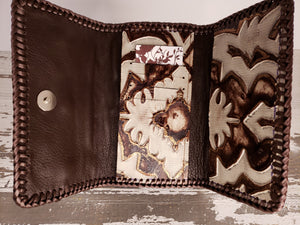 Brown & White Design Leather Wallet