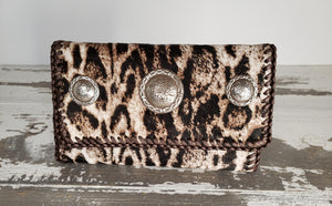 Hair on Snow Leopard print Wallet