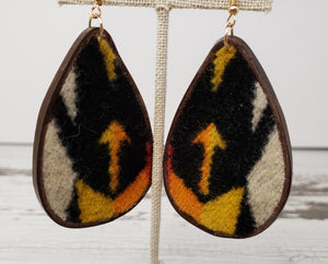 Wool & Leather Tear Drop Earrings