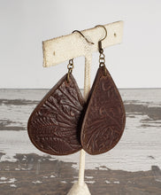Load image into Gallery viewer, Wool & Leather Tear Drop Earrings