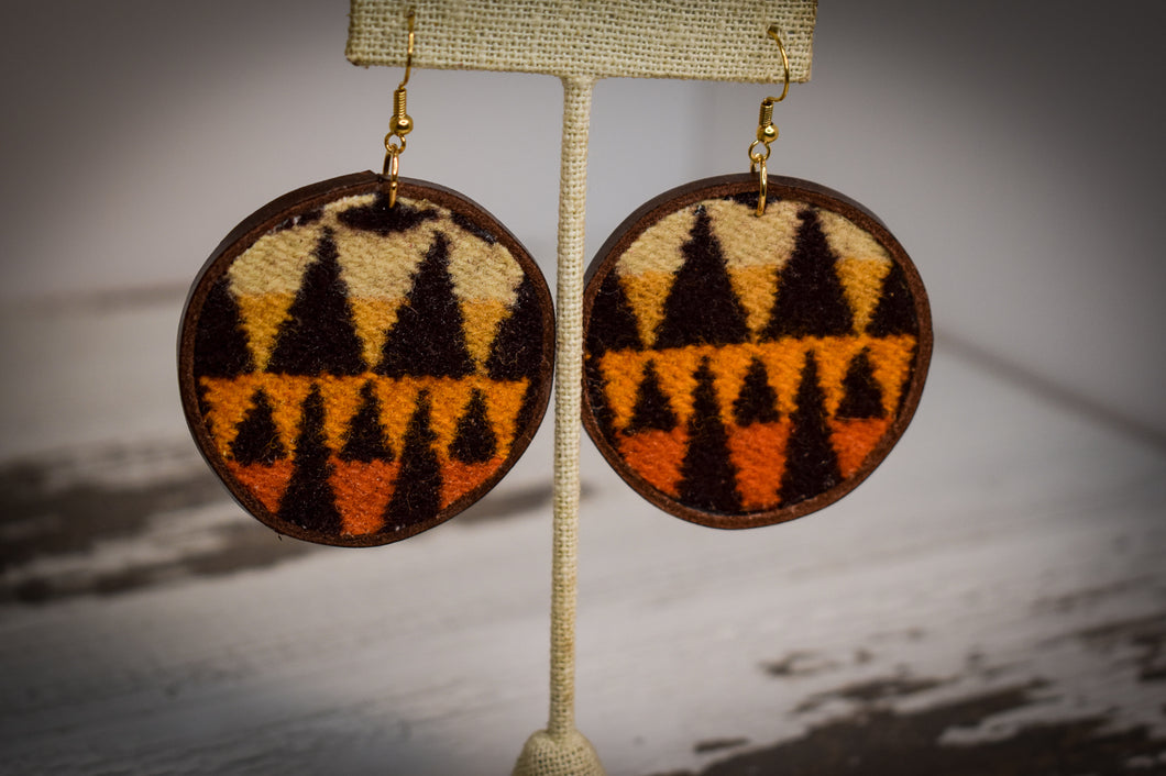 Yellow orange and burgundy wool earrings
