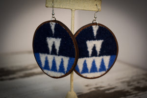 Navy white and blue large round wool earrings