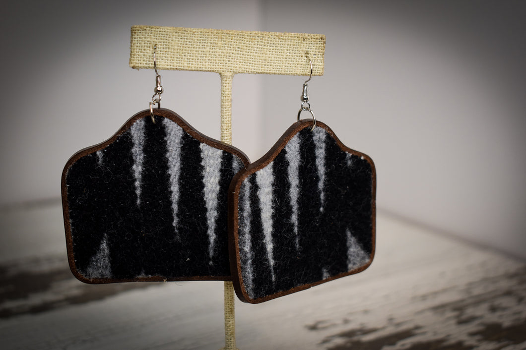 Black and grey wool with leather back cow tag earrings