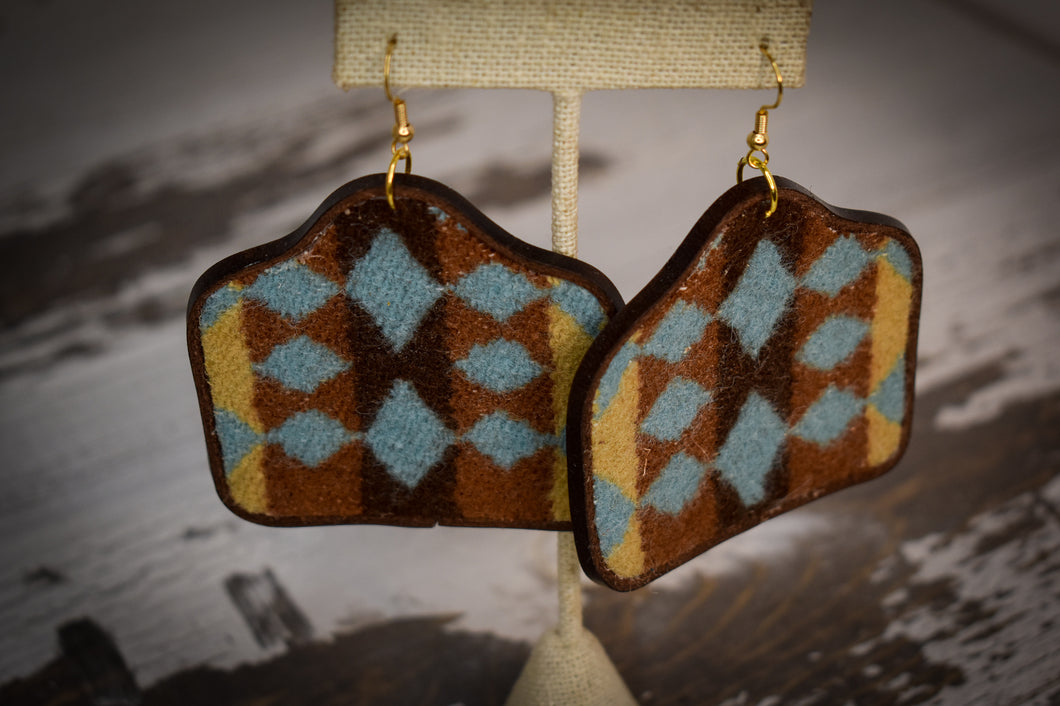Brown blue and mustard wool cow tag earrings