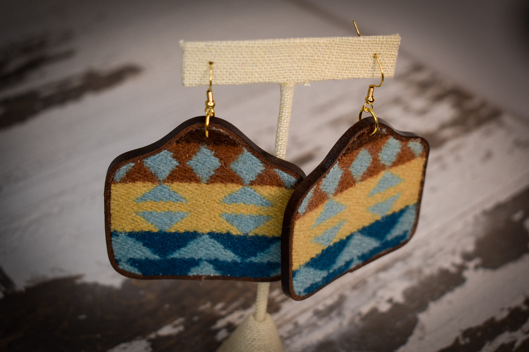 Blue brown and mustard wool cow tag earrings
