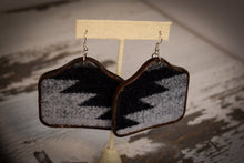 Load image into Gallery viewer, Black and Grey Wool Cow Tag Earrings