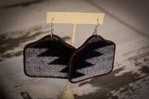 Black and Grey Wool Cow Tag Earrings