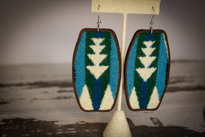 Turquoise green and ivory wool earrings