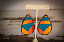 Load image into Gallery viewer, Turquoise yellow and orange wool earrings