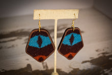 Load image into Gallery viewer, Teal burgundy and red wool earrings