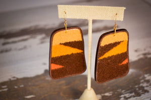 Brown and gold wool earrings