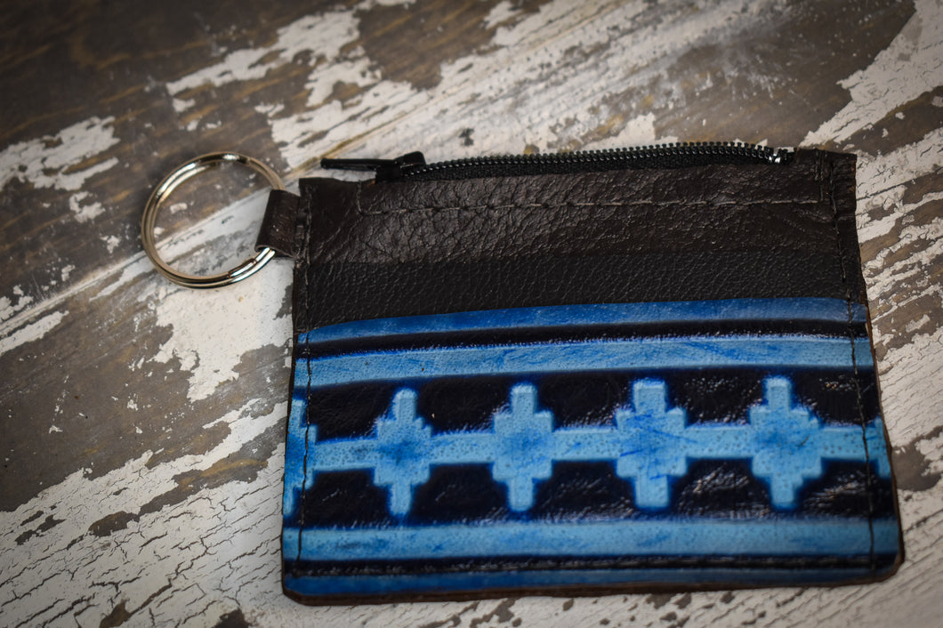 Black and blue Navajo coin pouch