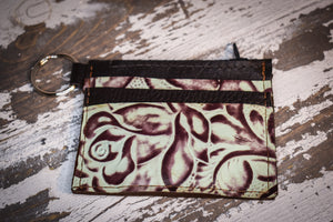Mint and brown rose zippered pouch
