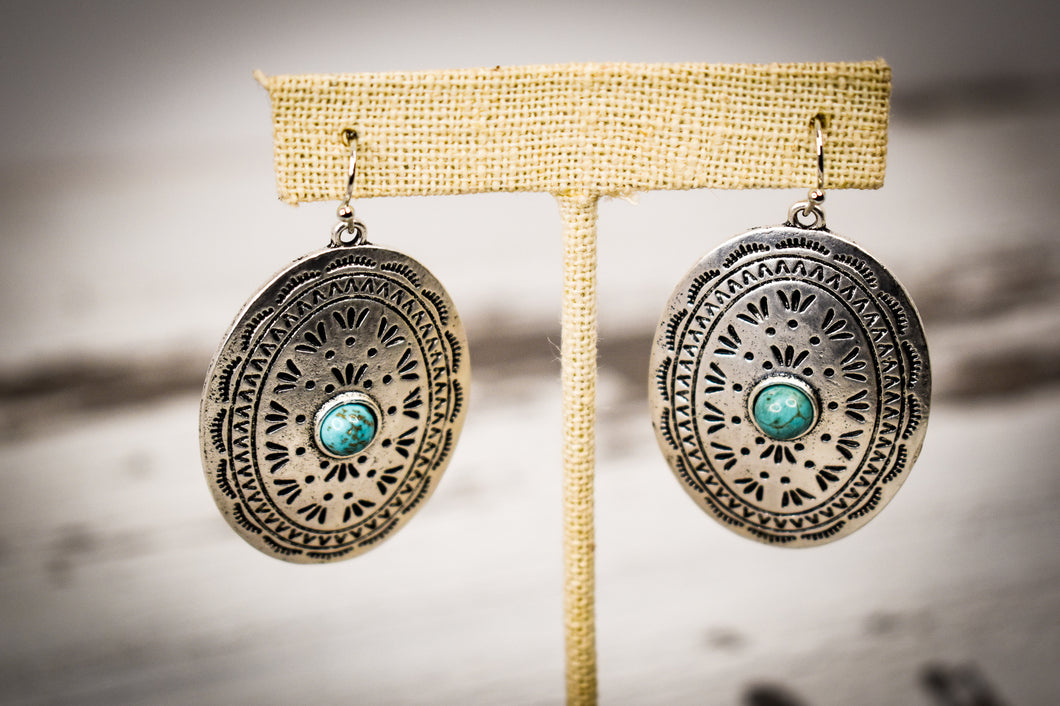 Silver concho earrings with natural stone
