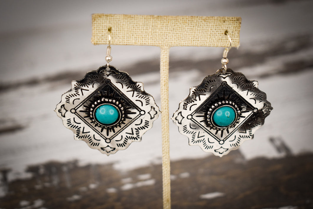Diamond natural stone concho earrings