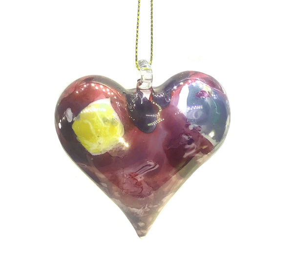 Heart Marble Ornament Red