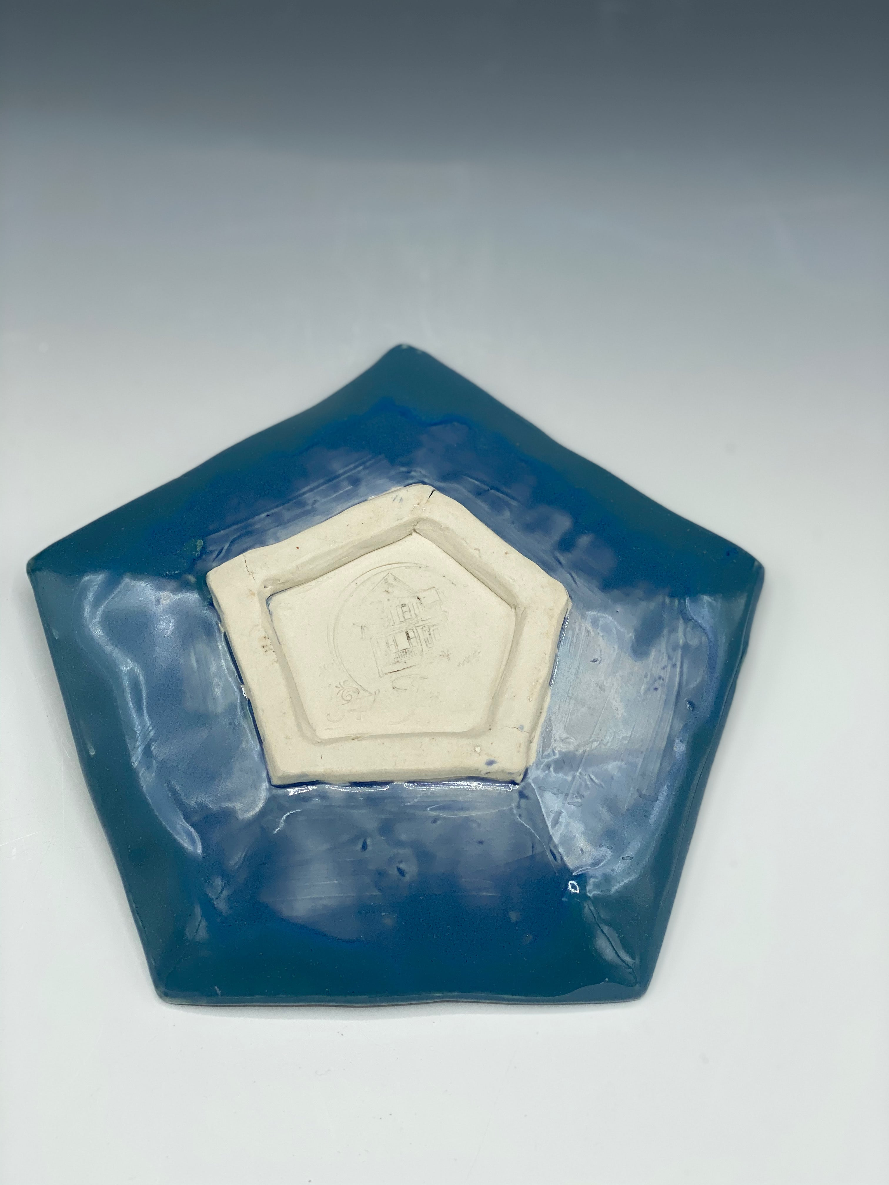 Watercolor Blue Pentagon Dish