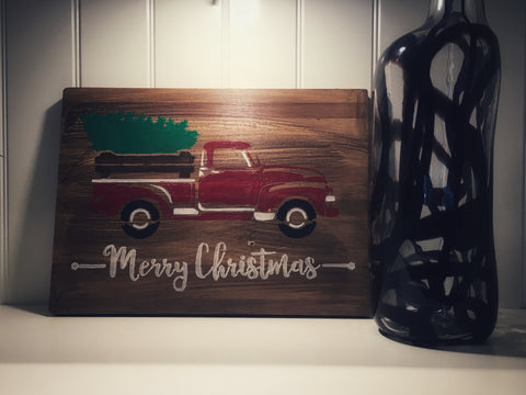 Reversible Christmas Wood Sign