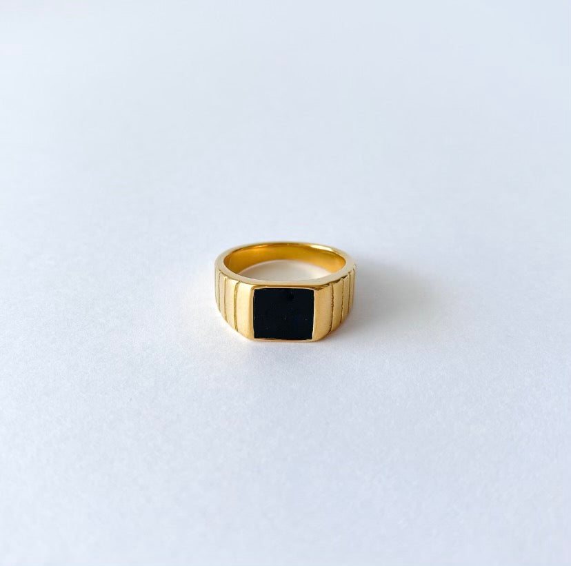 Black Onyx Ring - 18K Gold Plated on Stainless Steel with Black Onyx Gemstone on a signet bezel.
