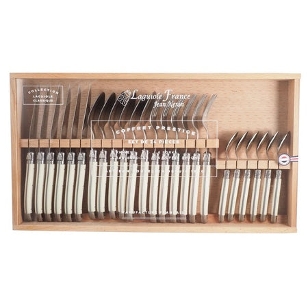 Laguiole Ivory Flatware in Wooden Box with Acrylic Lid (Set of 24)