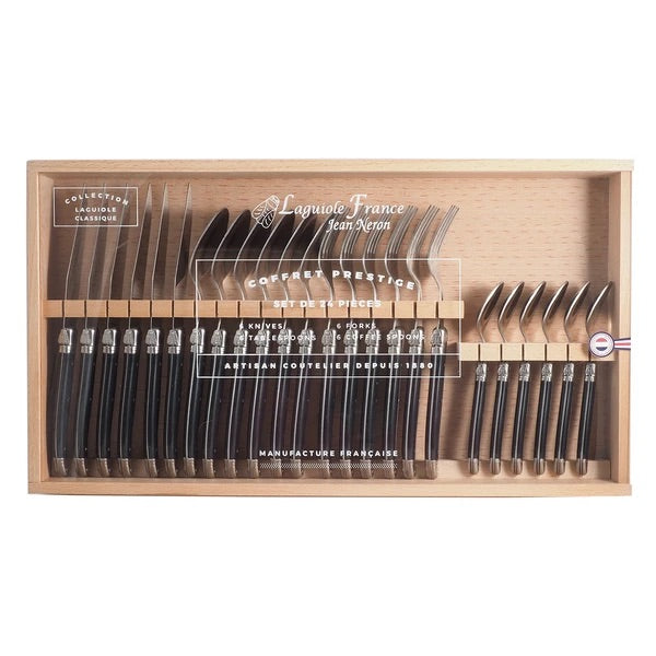 Laguiole Black Flatware in Wooden Box with Acrylic Lid (Set of 24)