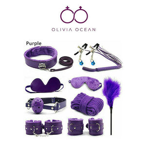 10 piece Bondage Kit with Fetish Toys in Purple - UK Seller - DISCREET PACKAGING!