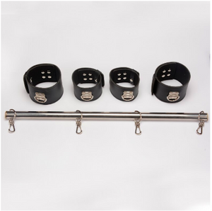 Lockable Bondage Wrist Ankle Cuffs Metal Spreader Bar Stainless Steel Tube