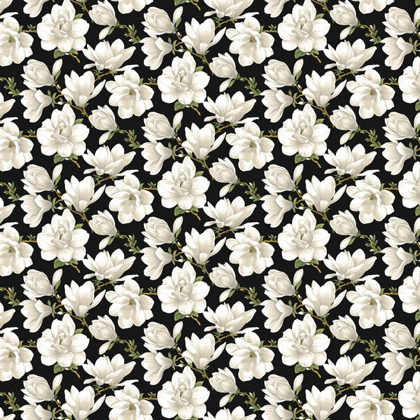 Accent on Magnolias Cream/Black Magnolia Blooms 3618-07 - Quilting by the Bay