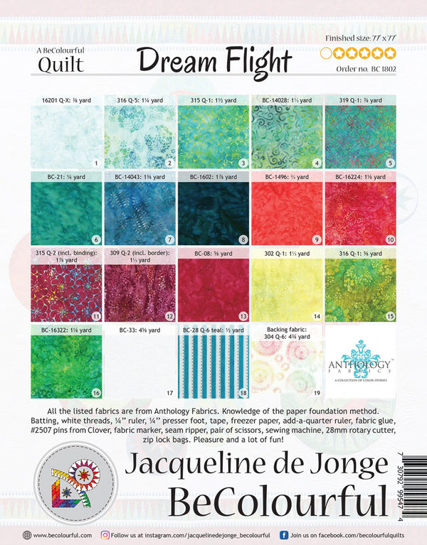 Be Colourful Dream Flight Pattern - Quilting by the Bay