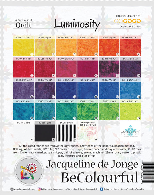 Be Colourful Luminosity Pattern - Quilting by the Bay