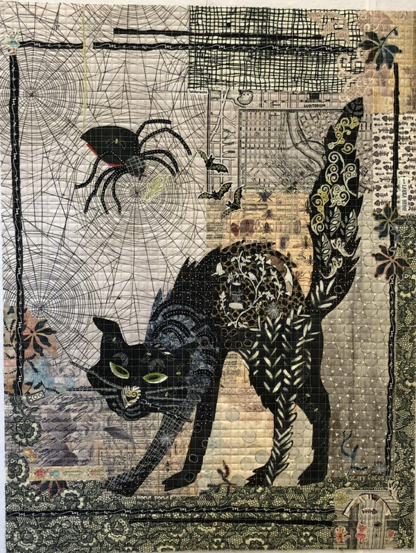 Black Cat Collage Pattern by Laura Heine - Quilting by the Bay