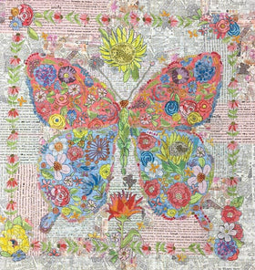 Flowerfly Butterfly Collage Fabric Kit