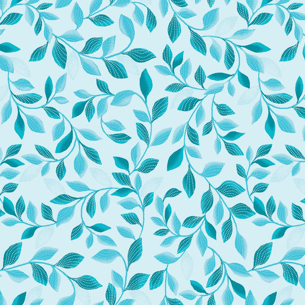 Pearl Reflections Aqua/Teal Shimmer Leaves 8806P-84