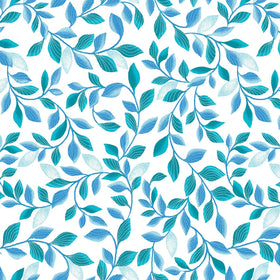 Pearl Reflections White/Teal Shimmer Leaves 8806P-04