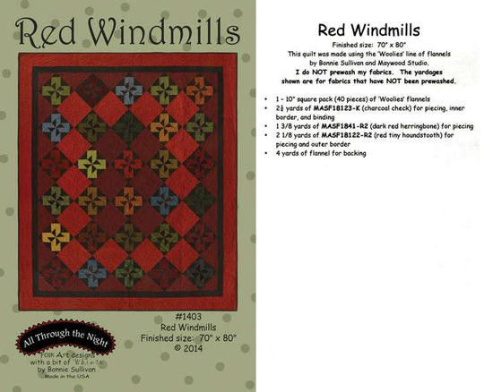 Red Windmills - Quilting by the Bay