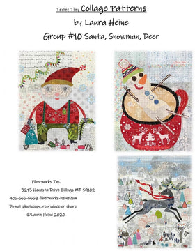 Teeny Tiny Collage Pattern #10 Santa, Snowman, Deer by Laura Heine