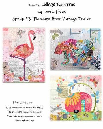 Teeny Tiny Collage Pattern Group 3 Flamingo, Bear and Vintage Trailer - Quilting by the Bay