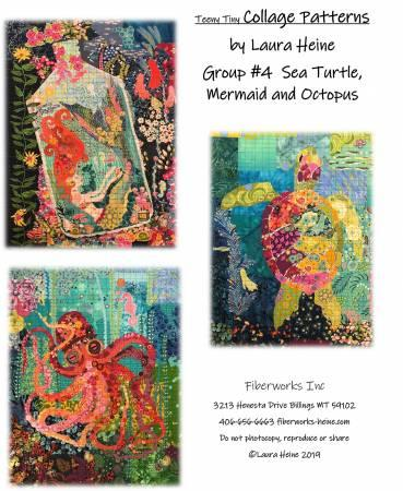 Teeny Tiny Collage Pattern Group 4 Sea Turtle, Mermaid, and Octopus - Quilting by the Bay