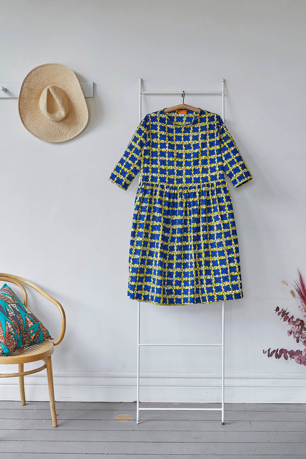 ULO Smock Dress - Blue Butterfly