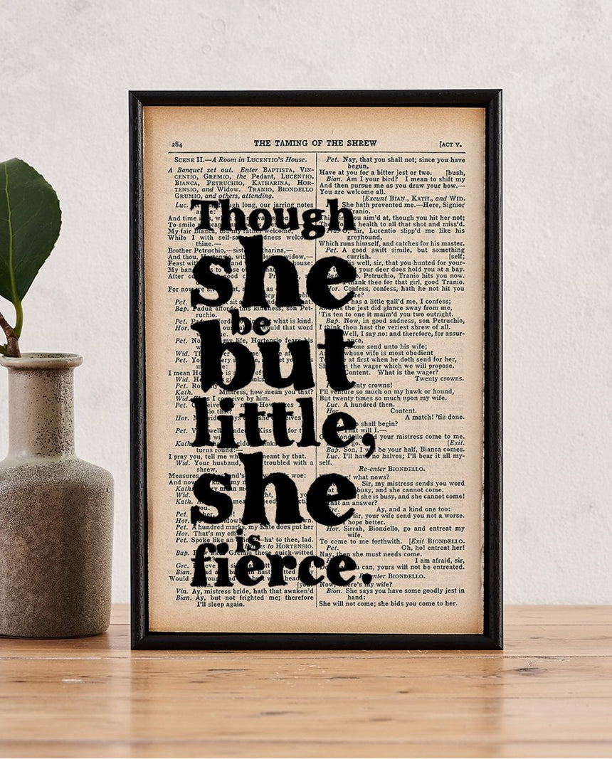 Book Page Print: Though She Be (Shakespeare) by Driftroom