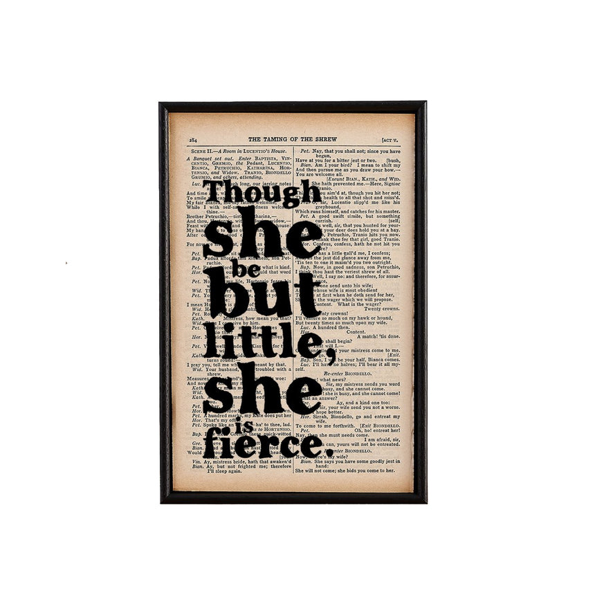 Book Page Print: Though She Be (Shakespeare)