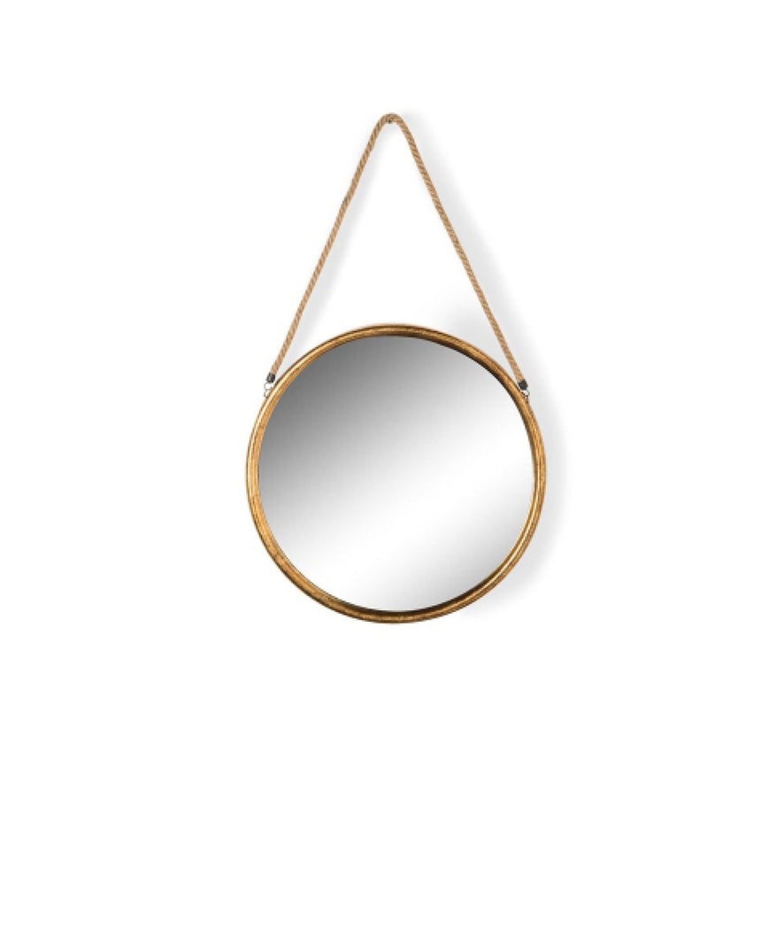 Round Gold Metal Mirror on Hanging Rope with Hook by Driftroom
