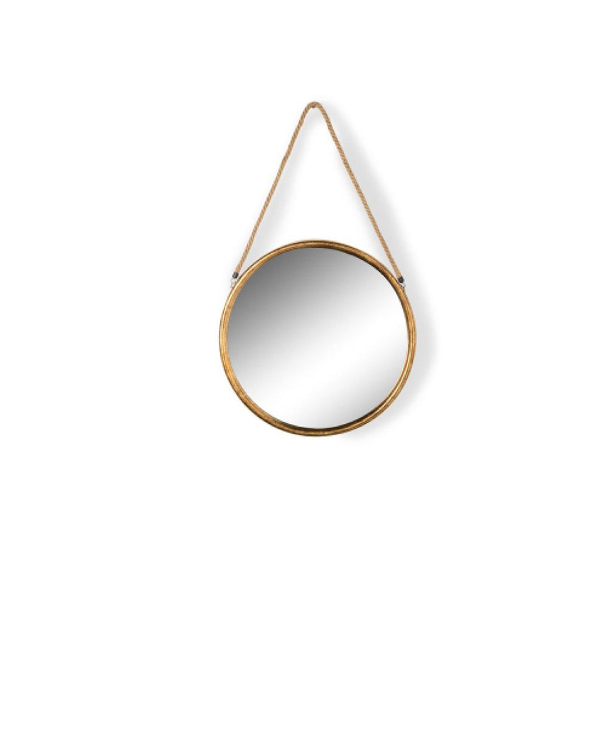 Round Gold Metal Mirror on Hanging Rope with Hook