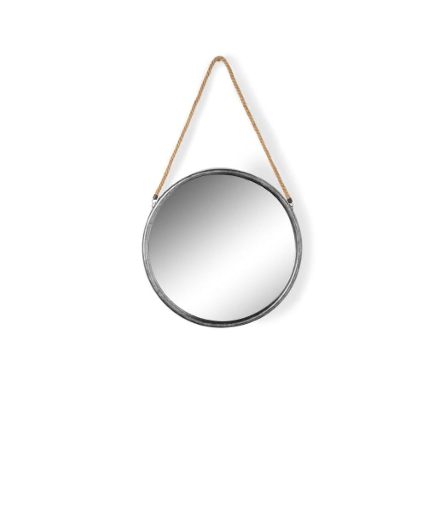 Round Silver Metal Mirror on Hanging Rope with Hook by Driftroom