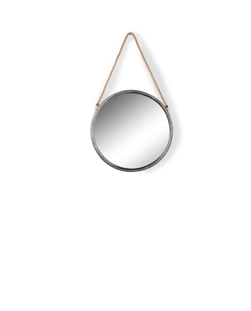 Round Silver Metal Mirror on Hanging Rope with Hook