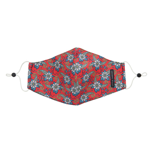 red fabric mask floral peranakan design front view
