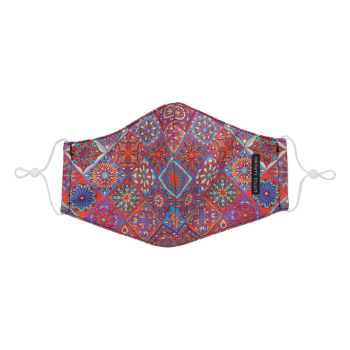 peranakan tile inspired fabric mask front view