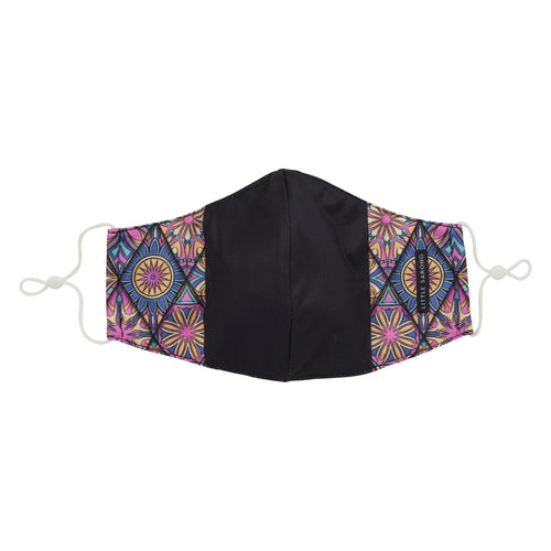 floral design mask with black middle colour block front view